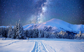 winter, Mountains, road, drifts, trees, northern lights, Milky Way, landscape