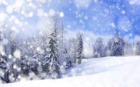 зима, снег, деревья, сугробы, пейзаж