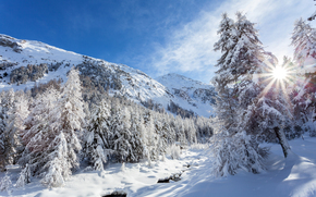 winter, Mountains, small river, trees, snow, drifts, landscape