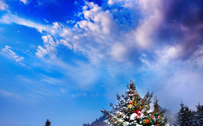 winter, snow, drifts, Christmas tree, New Year