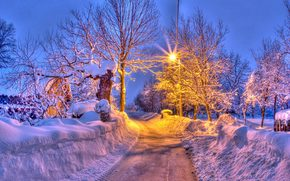 winter, road, trees, cabin, lantern, landscape