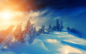 invierno, puesta del sol, nieve, árboles, derivas, paisaje