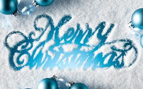 Sfondi di Natale, vetro coperto di neve, iscrizione, Buon anno