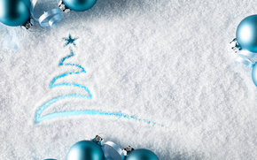 Christmas Wallpaper, snow-covered glass, inscription, happy new year