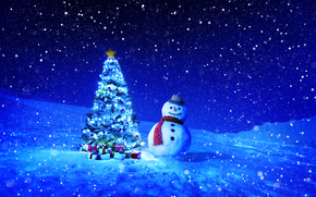 Christmas Wallpaper, happy new year, winter, Christmas tree, snowman