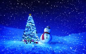 новогодние обои, с новым годом, зима, новогодняя ёлка, снеговик