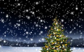 новогодняя ёлка, снег, новогодние обои
