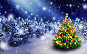 Vacanze di Natale, Buon anno, Albero di Natale, Giocattoli, nevicata, inverno, Sfondi di Natale