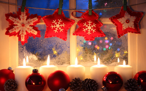 Christmas, New Year, Candles, window, Toys, Christmas Wallpaper, happy new year