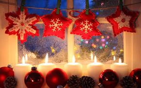 Natale, Capodanno, Candele, finestra, Giocattoli, Sfondi di Natale, Buon anno