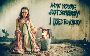 girl, dress, photo, bucket, fire, wall, inscription