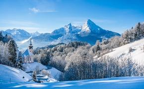 Berchtesgaden National Park, Pilgrimage Church of Maria Gern, Berchtesgaden, Bavaria, Germany, Bavarian Alps, Mount Watzmann, Национальный парк Берхтесгаден, Паломническая церковь Мария Герн, Берхтесгаден, Бавария, Германия, Баварские Альпы