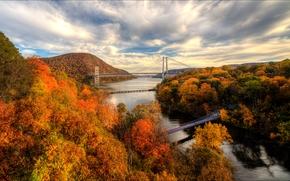 Harriman State Park, Hudson River, fiume, autunno, ponti, alberi, Montagne, paesaggio