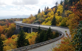 Highway Linn Cove, Linn Cove Viaduct, USA, bridge, autumn, landscape