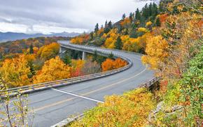 Autostrada Linn Cove, Wiadukt Linn Cove, USA, most, jesień, krajobraz