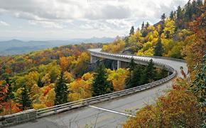 Шоссе Линн Ков, Linn Cove Viaduct, США, мост, осень, пейзаж