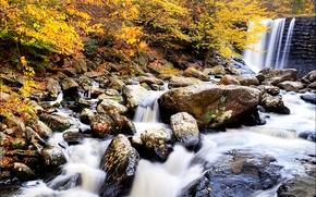 осень, река, камни, деревья, водопад, природа