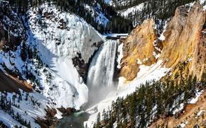 Lower Falls, Parco nazionale di Yellowstone, Montagne, cascata, inverno, paesaggio
