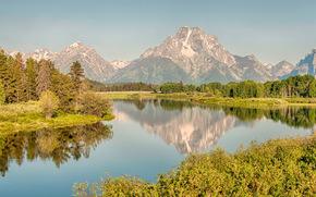 Grand Teton National Park, река, горы, деревья, пейзаж