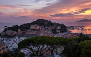 Sestri Levante, Liguria, Italy, Italian Riviera, Bay of Silence, Bay of the Fables, Ligurian Sea, Sestri Levante, Liguria, Italy, Italian Riviera, Ligurian Sea, bay, sea, cape, coast, building, sunset, panorama
