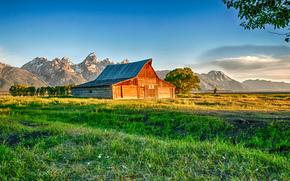 thomas Granaio di Moulton, Mormon Row, Grand Teton National Park, capanna, Montagne, alberi, paesaggio