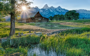 Thomas Moulton Barn, Mormon Row, Grand Teton National Park, хижина, горы, деревья, пейзаж
