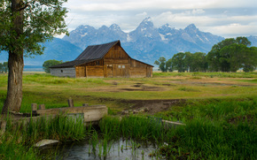 thomas moulton barn, Mormon Row, Grand Teton National Park, hut, Mountains, trees, landscape