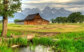 Thomas Moulton Barn, Mormon Row, Grand Teton National Park, хижина, горы, деревья, пейзаж