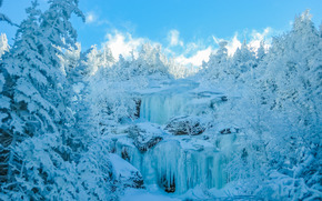 winter, forest, sky, trees, ice, snow, Rocks, Icicles, zamёrzzhy Falls, landscape