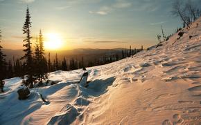 Kuznetsk, Alatau, zachód słońca, Góry, zima, drzew, krajobraz