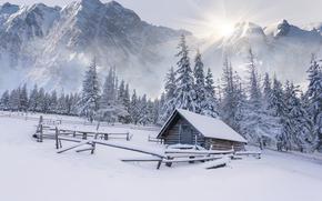 зима, горы, деревья, домик, хижина, снег, сугробы, пейзаж