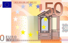 money, euros, bill, note, finance, currency, vector, gate, Europe, 50, Renaissance, orange