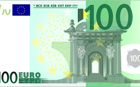 money, euros, bill, note, finance, currency, vector, gate, Europe, 100, one hundred, Baroque, rococo, Green