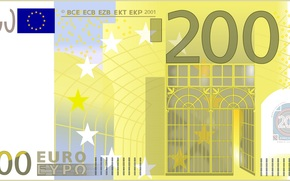 money, euros, bill, note, finance, currency, vector, gate, Europe, 200, two hundred, Industrial Era, iron, glass, yellow