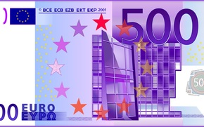 money, euros, bill, note, finance, currency, vector, gate, Europe, 500, modernity, violet