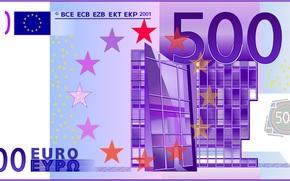 pieniądze, euro, rachunek, uwaga, finanse, waluta, wektor, brama, Europa, 500, nowoczesność, fioletowy
