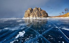 winter, ice, lake, Baikal, Russia, rock, shore