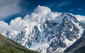 Altai, Russia, Mountains, clouds, snow, forest, sky, nature, landscape