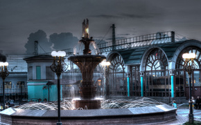 railway station, Novosibirsk, Russia, city, lights, FOUNTAIN, evening, night, train, cars