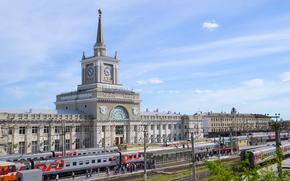 stazione ferroviaria, città, Volgograd, Russia, ferrovia, treno, auto, torre, guardare, stella, cielo