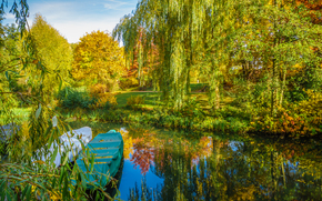 парк, пруд, осень, лодка, деревья, пейзаж