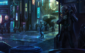Satellite Reign, Robots, city
