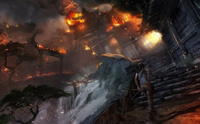 Tomb Raider, Lara Croft, Asia, village, fire, Art