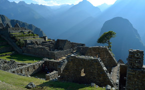 Machu Picchu, Peru, South America, architecture, city, civilization, ruins, Mountains, tree, grass, stone, landscape