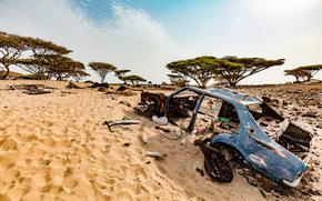 Пустыня, песок, деревья, небо, автомобиль, машина, куча мусора