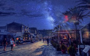 Корони, Греция, Κορώνη, Ελλάδα, город, ночь, звёзды, дома, пальмы, люди, улица