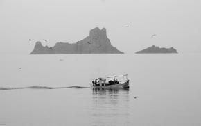 Лодка, море, скалы, чайки, пейзаж, чёрно-белый