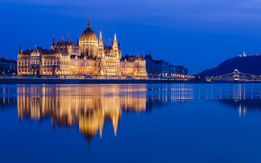 Hungarian Parliament, Budapest, Hungary, danube, Hungarian Parliament, Budapest, Hungary, Danube, river, building, reflection