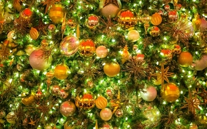 New Year, Christmas, fir-tree, Toys, ornamentation