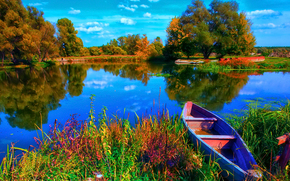 река, берег, лодка, деревья, пейзаж